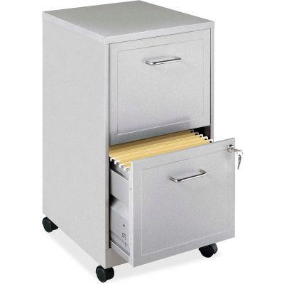 "Lorell®  18"" Deep 2-Drawer Mobile File Cabinet, Metallic Silver"