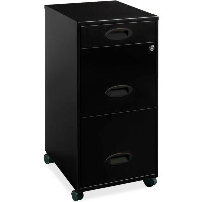 "Lorell®  18"" Deep 3-Drawer Mobile File Cabinet, Black"