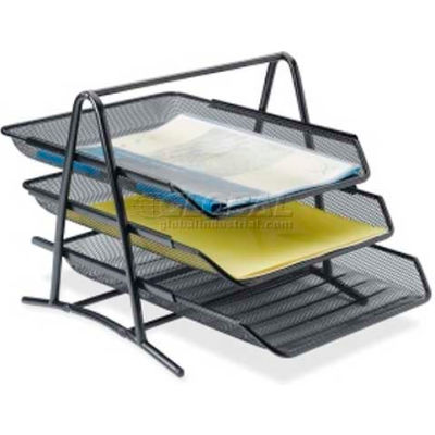 Lorell® 3-Tier Mesh Desk Tray, Black