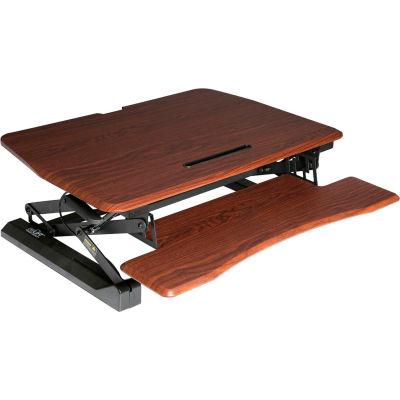 Seville Classics AIRLIFT® Pneumatic Sit-to-Stand Adjustable Desktop Converter, Walnut