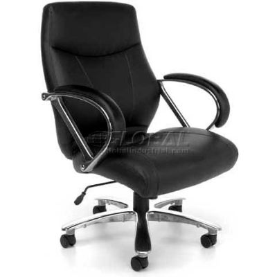 OFM Avenger Series Big and Tall Executive Mid Back Chair, Leather, Black