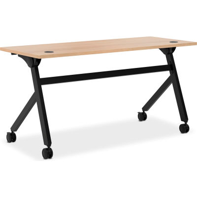 """HON® Multi-Purpose Table - Flip Base - 60""""W - Wheat Laminate - Black Finish"""
