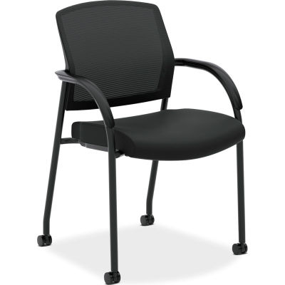 HON® Mesh Back Stacking Guest Chair with Casters - Fabric - Black - Lota Series