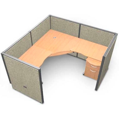 "OFM RiZe Series 47"" x 72"" 1-Unit Workstation Kit, Full Vinyl Panels, Beige with Maple Desk"