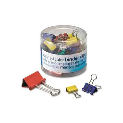 Officemate® Binder Clips, Assorted Sizes and Colors, 30 Clips/Tub
