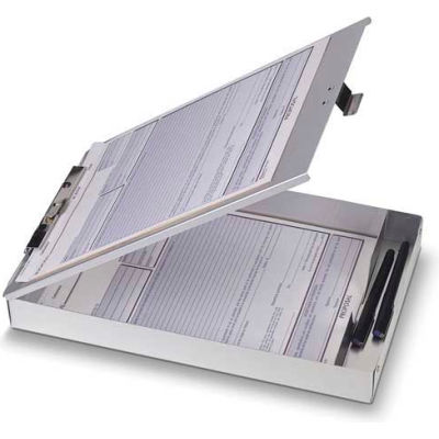 """Officemate® Aluminum Storage Clipboard, Top Opening, 8-1/2"""" x 12"""", Silver"""