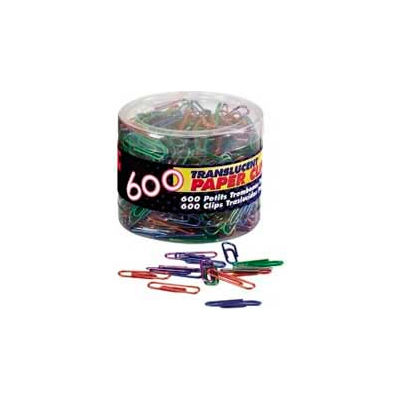 Officemate® Translucent Vinyl-Coated Paper Clips, Assorted, 600/Tub