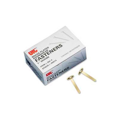 """Officemate® Round Head Fastener, 1"""" Length Shank, 3/8"""" Head, Brass Plated, 100/Box"""