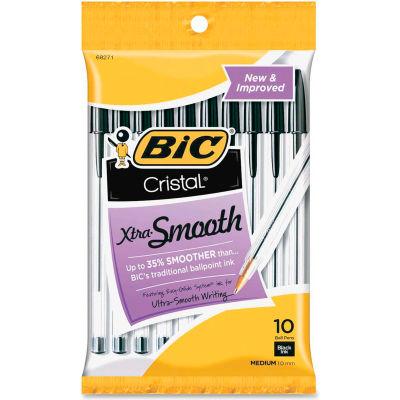 Bic® Cristal Stick Ballpoint Pen, Medium, Black Ink, Clear Barrel, 10/Pack