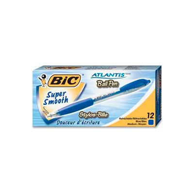 Bic® Atlantis Ballpoint Retractable Pen, Medium, Blue Barrel/Ink, Dozen