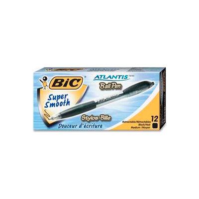 Bic® Atlantis Ballpoint Retractable Pen, Medium, Black Barrel/Ink, Dozen