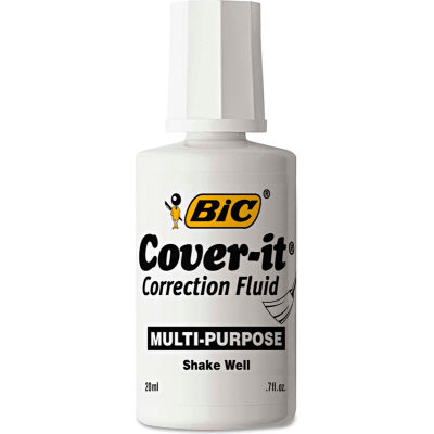 BIC® Cover-It Correction Fluid, 20 ml Bottle, White, 12/Pack