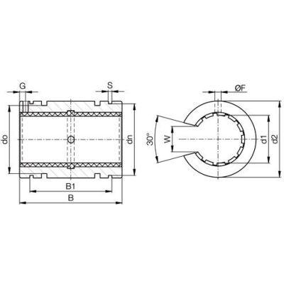 "IGUS OJUI-01-16 DryLin R Open Linear Polymer Bearing with Shell - 1""Dia. Shaft"