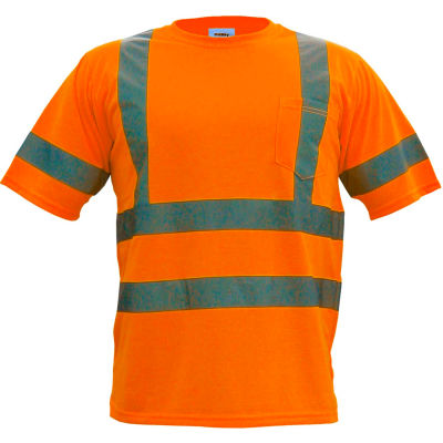 Utility Pro™ Hi-Vis S/S Pocket T-Shirt, ANSI Class 3, XL, Orange
