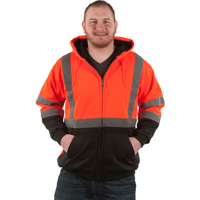 Utility Pro™ Hi-Vis Hooded Soft Shell Jacket, ANSI Class 3, M, Orange/Black