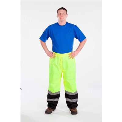 """Utility Pro™ Hi-Vis Nylon Pants W/Elastic Waist, ANSI Class E, 32""""L, L, Lime/Black"""