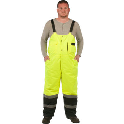 Utility Pro™ Hi-Vis Lined Bib Overall, Class E, XL, Yellow
