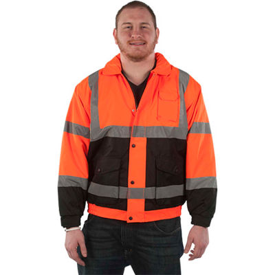 Utility Pro™ Hi-Vis Bomber Jacket, ANSI Class 3, XL, Orange/Black