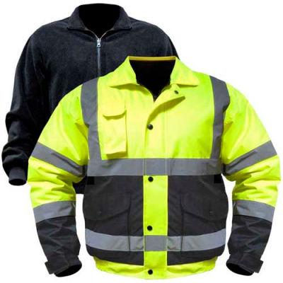 Utility Pro™ Hi-Vis Bomber Jacket W/Zip-Out Liner, 2XL, Yellow/Black