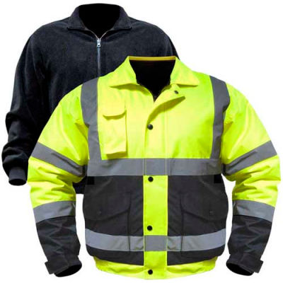 Utility Pro™ Hi-Vis Bomber Jacket W/Zip-Out Liner, XL, Yellow/Black