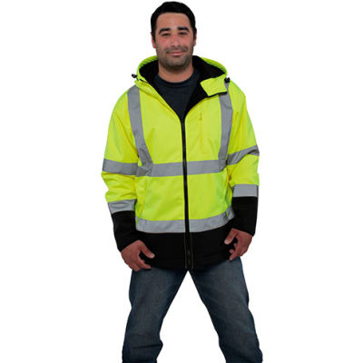 ANSI Class 3 Fleece Lined Soft Shell, Yellow/Black, M, UHV773-Y-M