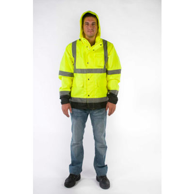 Utility Pro™ High-Visibility Rain Jacket, ANSI Class 3, 2XL, Yellow/Black