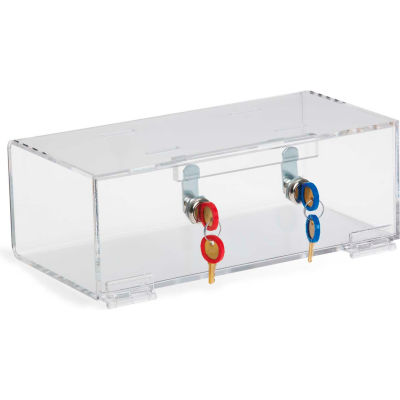 Omnimed® Double Lock Clear Acrylic Refrigerator Lock Box, All Locks Keyed Different