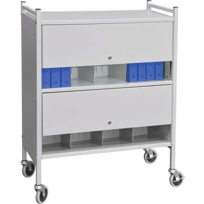 Omnimed® Versa Cabinet Style Rack with Locking Panels, 2 Shelves, Light Gray