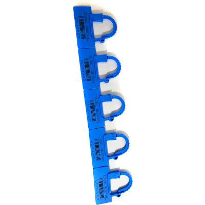 Global Industrial™ One Piece Padlock Seal, Med Blue, 100/Pack