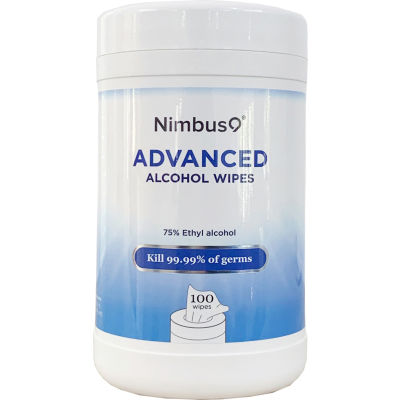 """Nimbus9 Hand Sanitizing Alcohol Disinfecting Wipes, 5.9"""" x 6.3"""" Wipes, 100 Wipes/Canister - Pkg Qty 16"""