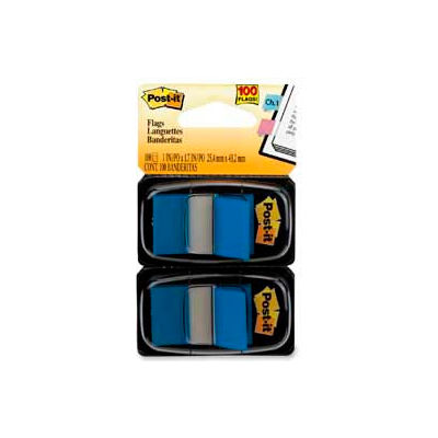 """Post-it® Flags, 1"""" Wide, Blue, 50 Flags/Dispenser, 2 Dispensers/Pack"""