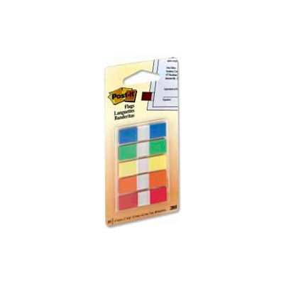 """Post-it® Flags, 1/2"""" Wide, Assorted Primary, 20 Flags/Color, 100 Flags/Dispenser"""