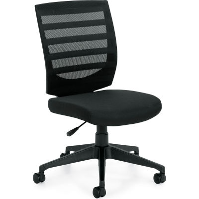 Offices To Go™ Mesh Mid Back Task Chair - Armless - Black