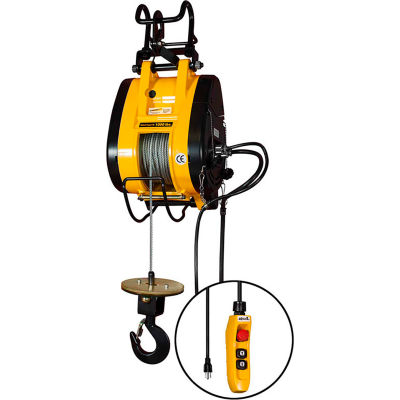 OZ Lifting 1/2 Ton, Electric Wire Rope Hoist, 90' Lift, 37 FPM, 115V