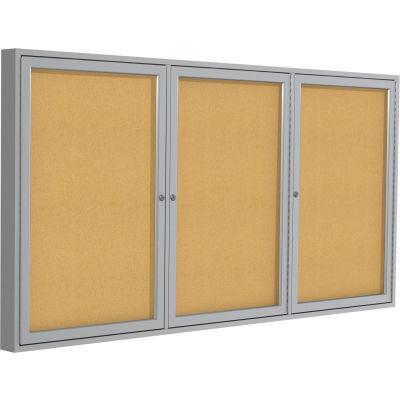 "Ghent Enclosed Bulletin Board - 3 Door - Natural Cork w/Silver Frame - 48"" x 72"""