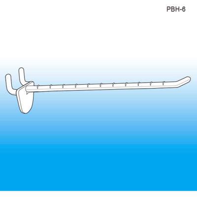 """Pegboard & Slatwall Display Hook, 6"""" - Pkg Qty 100"""