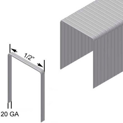 "20 Gauge Staple - 1/2"" Length - 1/2"" Crown - Galvanized Steel - Pkg of 25000"