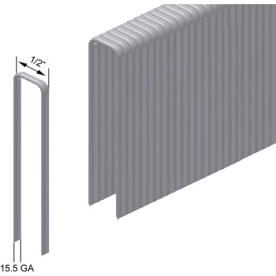 "15.5 Gauge 1/2"" Crown Flooring Staples - 2"" Length - High Tensile Galvanized Steel - Pkg of 5000"