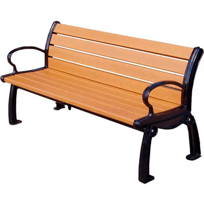 Global Industrial™ 6' Recycled Plastic Heritage Bench With Black Frame, Cedar