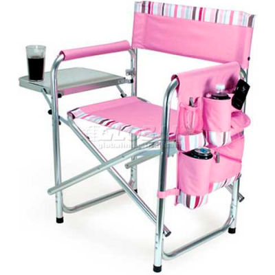 """Picnic Time Sports Chair 809-00-102-000-0, 19""""W X 4.25""""D X 33.25""""H, Pink with Stripes"""