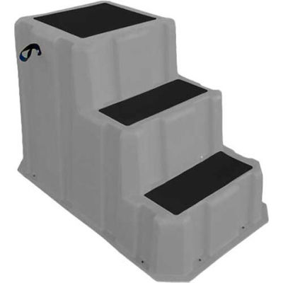 """3 Step Nestable Plastic Step Stand - Gray 26""""W x 43""""D x 28""""H - NST-3 GY"""