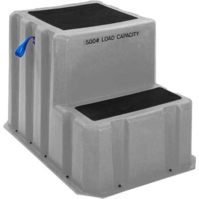 """2 Step Plastic Step Stand Extra Large - Gray 25-1/2""""W x 33""""D x 24""""H - NTXST-2 GY"""