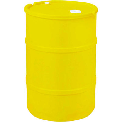 US Roto Molding 30 Gallon Plastic Drum SS-CH-30 - Closed Head with Bung Cover - Lever Lock - Yellow