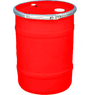 US Roto Molding 15 Gallon Plastic Drum SS-OH-15 - Open Head with Bung Cover - Lever Lock - Red