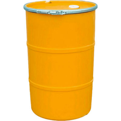 US Roto Molding 35 Gallon Plastic Drum SS-OH-35 - Open Head with Bung Cover - Lever Lock - Orange