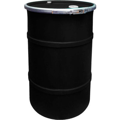 US Roto Molding 55 Gallon Plastic Drum SS-OH-55 - Open Head with Bung Cover - Lever Lock - Black