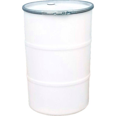 US Roto Molding 55 Gallon Plastic Drum SS-OH-55 - Open Head with Bung Cover - Lever Lock - Natural
