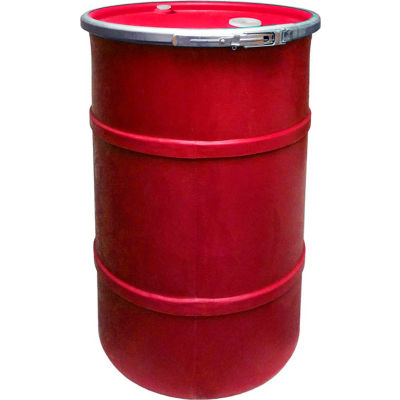 US Roto Molding 55 Gallon Plastic Drum SS-OH-55 - Open Head with Bung Cover - Lever Lock - Red