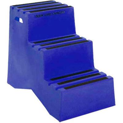"""3 Step Plastic Step Stand - Blue 20""""W x 33-1/2""""D x 28-1/2""""H - ST-3 BL"""