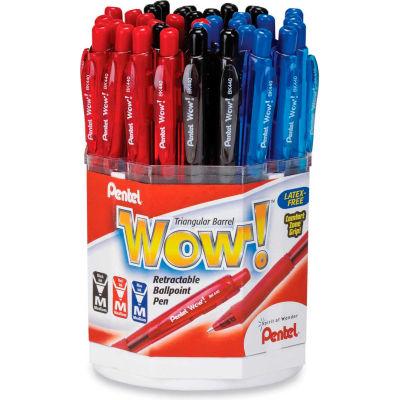 Pentel® Wow! Ballpoint Retractable Pen Display Box, Medium, Black/Blue/Red Ink, 36/Display Box